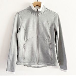North Face Gray Agave Full Zip Fuzzy Lined Jacket